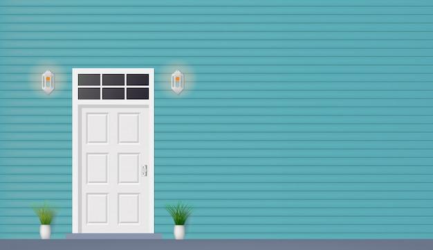 Drewniane drzwi domu widok z przodu z lampami