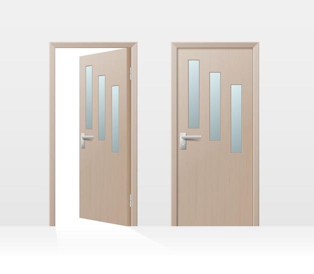 Drewniane drzwi komplet, wnętrze mieszkania zamknięte i otwarte drzwi z klamkami na białym tle