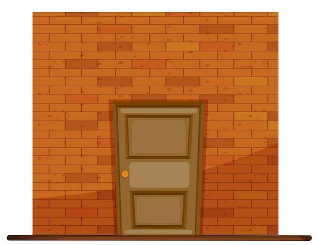 Drewniane drzwi na ścianie z cegły