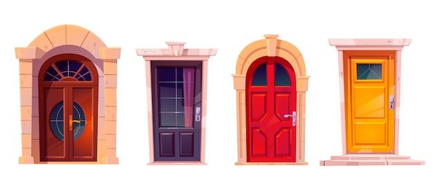 Drewniane drzwi przednie z kamienną ramą na białym tle