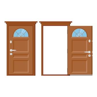 Drewniane drzwi wejściowe zamknięte i otwarte z ościeżnicą.