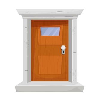 Drewniane drzwi z kamienną ościeżnicą okienną w stylu kreskówki