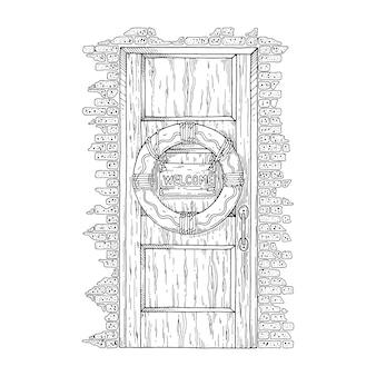 Drewniane drzwi z zawieszonym na nich kołem ratunkowym.