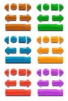 Drewniane guziki kreskówka do gry lub projektowania stron internetowych
