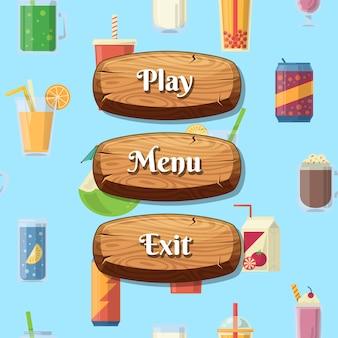 Drewniane guziki w stylu kreskówki z tekstem do projektowania gier