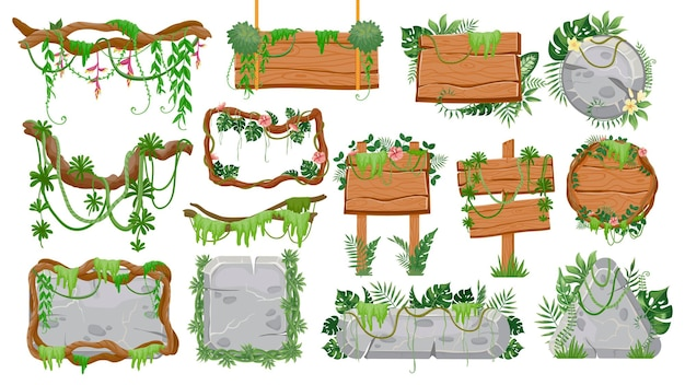 Drewniane i kamienne znaki dżungli. tropikalne elementy interfejsu użytkownika gry, szyldy, panele, ramki, obramowania i przyciski z lianami i liśćmi wektor zestaw. ilustracja szyld dżungli z liany, deska drewniana