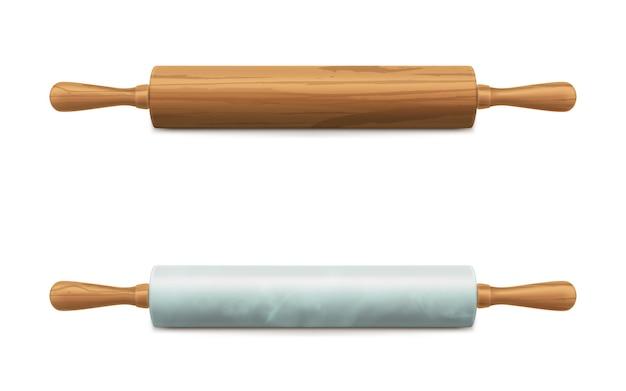 Drewniane i marmurowe kamienne wałki do ciasta wektor