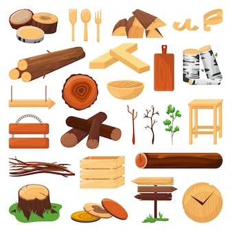 Drewniane kłody, pnie i deski zestaw ilustracji. materiały drewniane z drewna, elementy drewniane, deski, gałązki i wzorniki kuchenne. drewno opałowe, stos sosny. naturalne gałęzie na opał, stolarstwo.