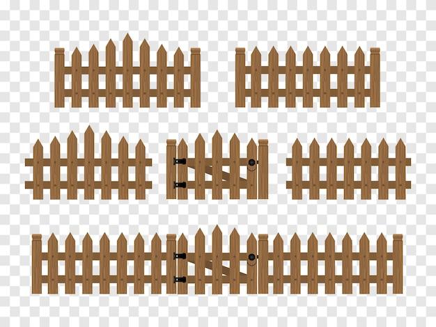 Drewniane ogrodzenia i bramy izolowane.
