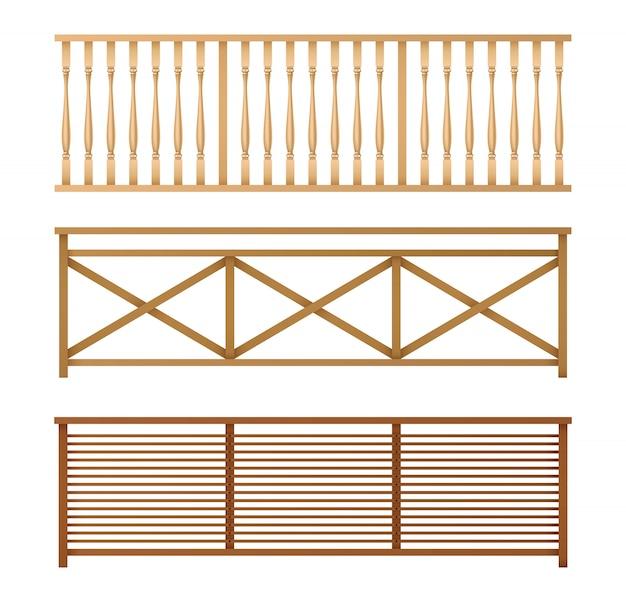 Drewniane ogrodzenia, poręcze realistyczne wektor zestaw