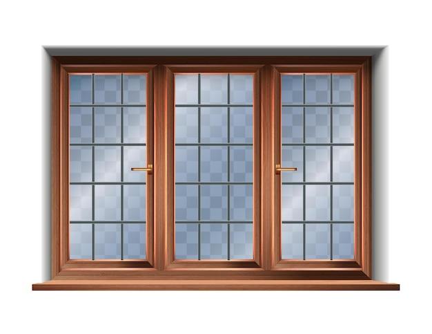 Drewniane okno na białym