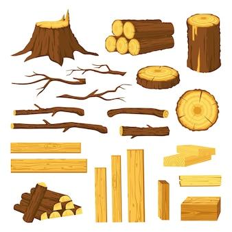 Drewniane pnie i deski. surowce dla przemysłu drzewnego, kłody, pniaki, pnie drzew z korą i pręty drewniane. drewno opałowe wektor zestaw kreskówka na białym tle. koncepcja stolarska, kawałki drewna