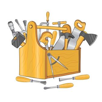 Drewniane pudełko na narzędzia stolarskie. wyciągnąć rękę. skrzynka narzędziowa drewniana z piłą i młotkiem