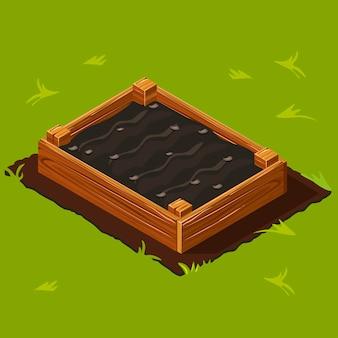 Drewniane pudełko na ogród warzywny.