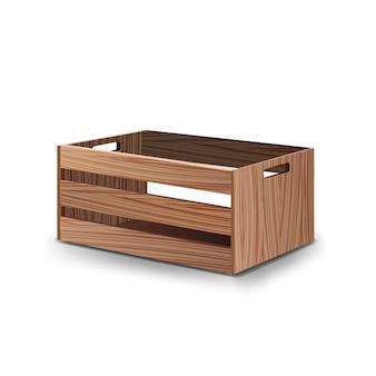 Drewniane pudełko owoców i warzyw na białym tle