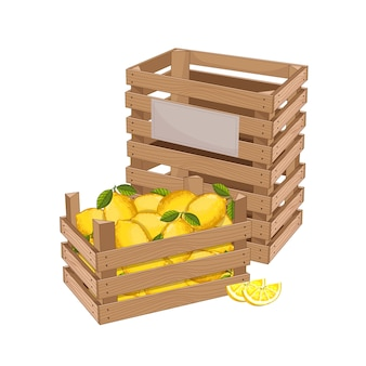 Drewniane pudełko pełne cytryny