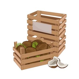 Drewniane pudełko pełne kokosa