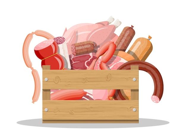 Drewniane pudełko pełne mięsa. kotlet, kiełbaski, boczek, szynka. marmurkowa wołowina. sklep mięsny, steki, produkty ekologiczne z farmy. żywność spożywcza. świeży stek wieprzowy. wektor ilustracja płaski styl