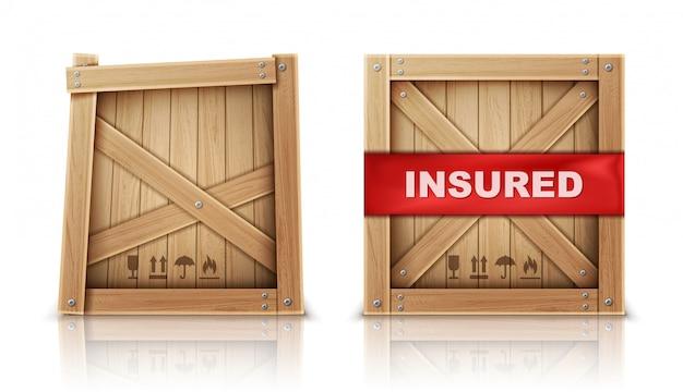 Drewniane pudełko, uszkodzone i z ubezpieczeniem