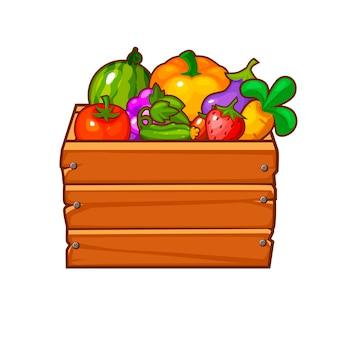 Drewniane pudełko z warzywami i jagodami do interfejsu gry.