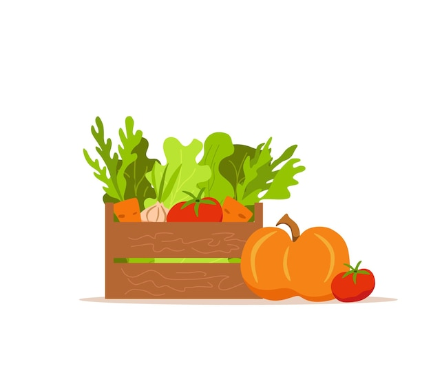 Drewniane pudełko z warzywami kolorowy kreskówka wektor ilustracja. koncepcja rynku żywienia wegetariańskiego: cebula, dynia, pomidor, sałatka z marchwi i inne produkty. pakiet dostawy zdrowej żywności ekologicznej