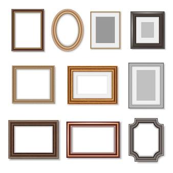 Drewniane Ramki Na Zdjęcia I Złote Obramowania Obrazu Premium Wektorów