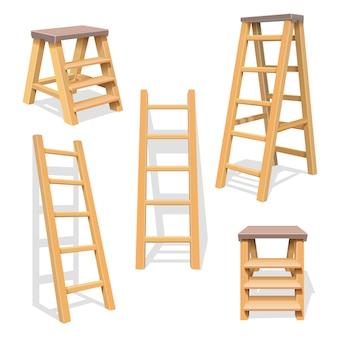 Drewniane schody domowe. zestaw na białym tle drabiny drewniane. drewniana konstrukcja drabiny