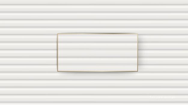 Drewniane ściany biała tekstura z złotą granicą.