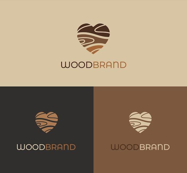 Drewniane serce logo, ikona. koncepcja miłości do drewna w brązowych kolorach z naturalną teksturą na powitanie, karta z zaproszeniem. symbol eco, kochająca przyrodę, ochrona środowiska. szablon logotypu firmy. na białym tle wektor