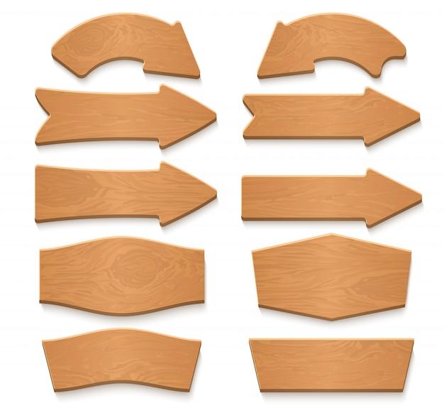 Drewniane strzałki szyldy i znaki drewna kolekcja kreskówka wektor. szyld deska drewno, ilustracja strzałka drewniany drogowskaz