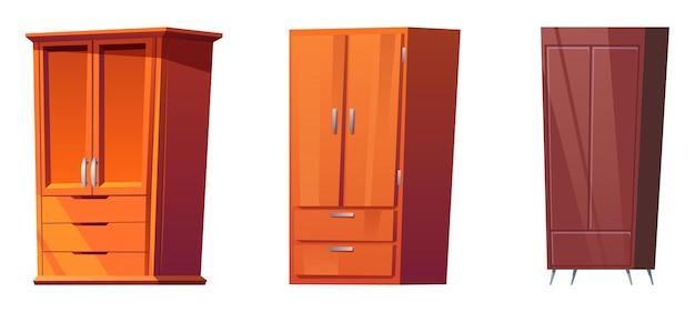 Drewniane szafy do sypialni na białym tle