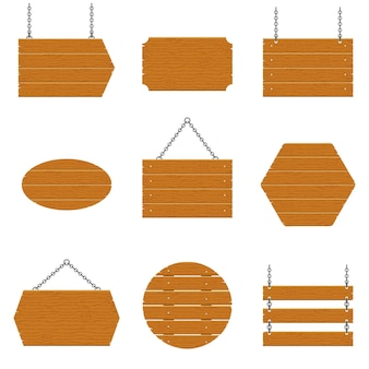Drewniane szyldy i drewniane deski zestaw na białym tle. znaki i symbole do przekazywania informacji na ulicy, emblematy oznakowań. szablon transparent z fakturą drewna.