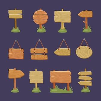 Drewniane szyldy strzałka kierunkowa tekstury drewna