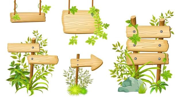 Drewniane szyldy z miejscem na tekst