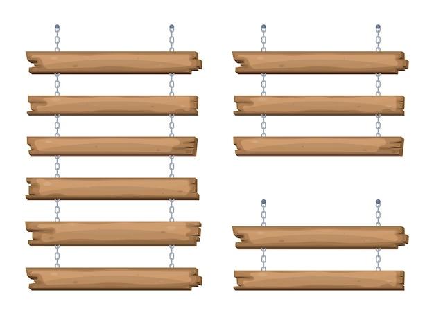 Drewniane tablice do szyldów zwisające z łańcucha
