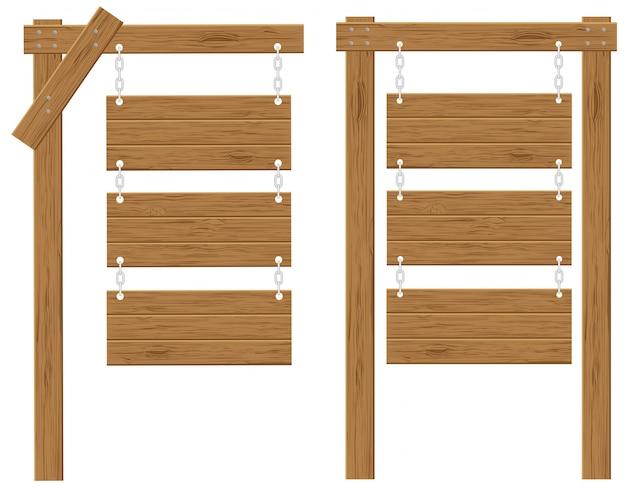 Drewniane tablice znaki ilustracji wektorowych