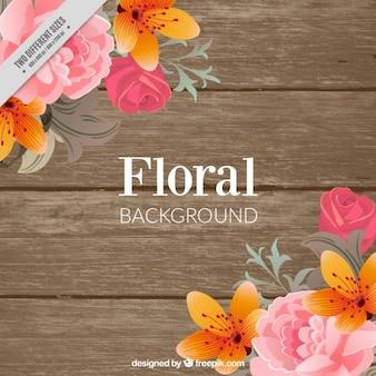 Drewniane tło z kwiatów