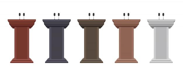 Drewniane trybuny podium ilustracja na białym tle