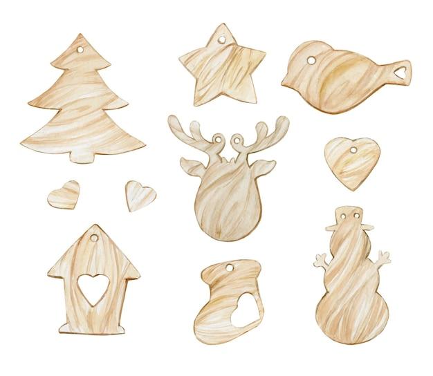 Drewniane zabawki wiszące, do dekoracji, plakatów świątecznych, w stylu skandynawskim.