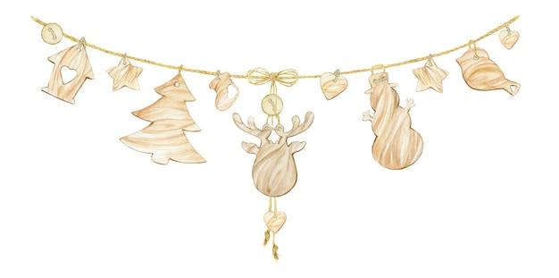 Drewniane zabawki zawieszone na linie. świąteczny wystrój w stylu skandynawskim. akwarela