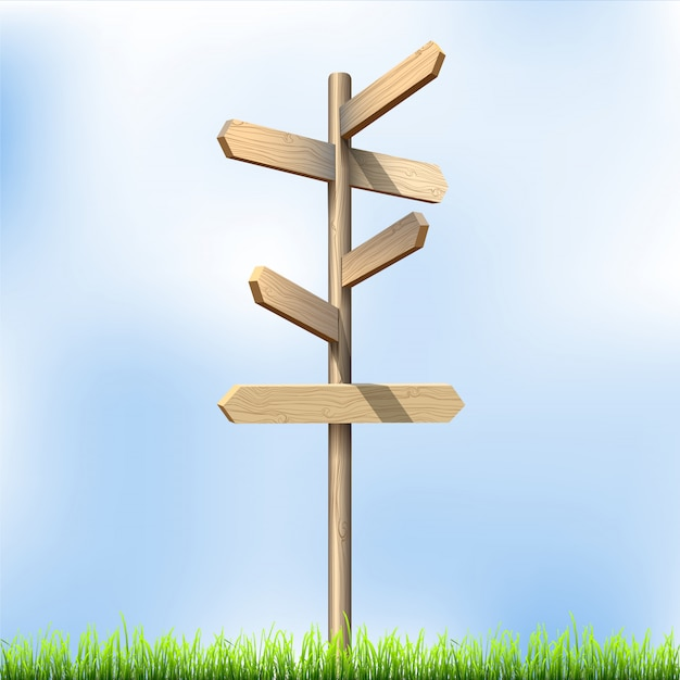 Drewniane znaki drogowe kierunku