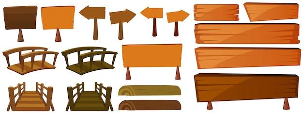Drewniane znaki i mosty