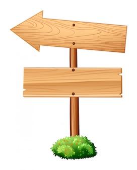 Drewniane znaki na słupie