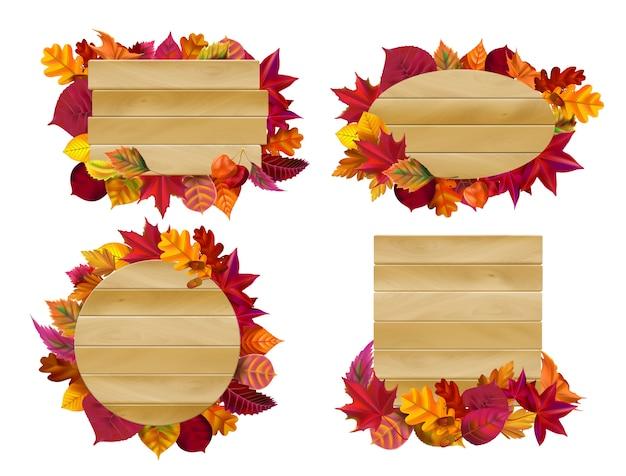 Drewniane znaki z jesiennych liści. spadek żółty liść, sezonowy drewniany sztandar ilustraci set
