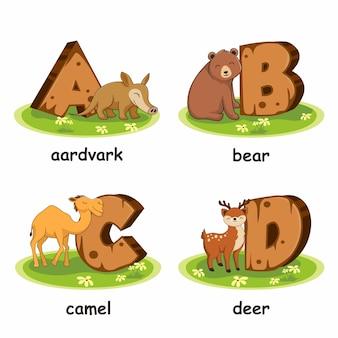 Drewniane zwierzęta alfabetu aardvark niedźwiedź wielbłąd jeleń