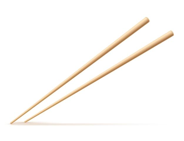 Drewniani chopsticks odizolowywający na białym tle. ilustracja