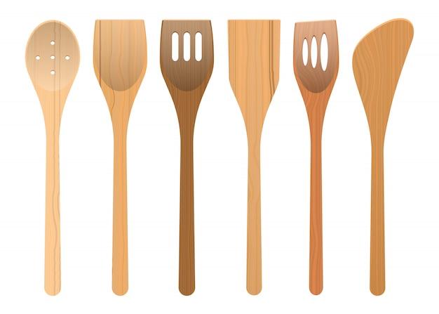 Drewniani kuchenni naczynia projektują ilustrację odizolowywającą na białym tle
