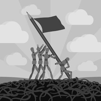 Drewniani mężczyźni ustanawiający flagę ołówka