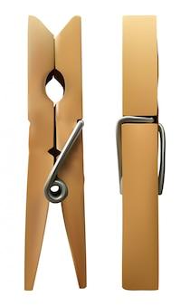 Drewniany clothespin na białym tle