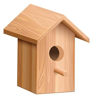 Drewniany dom dla ptaka. budka lęgowa